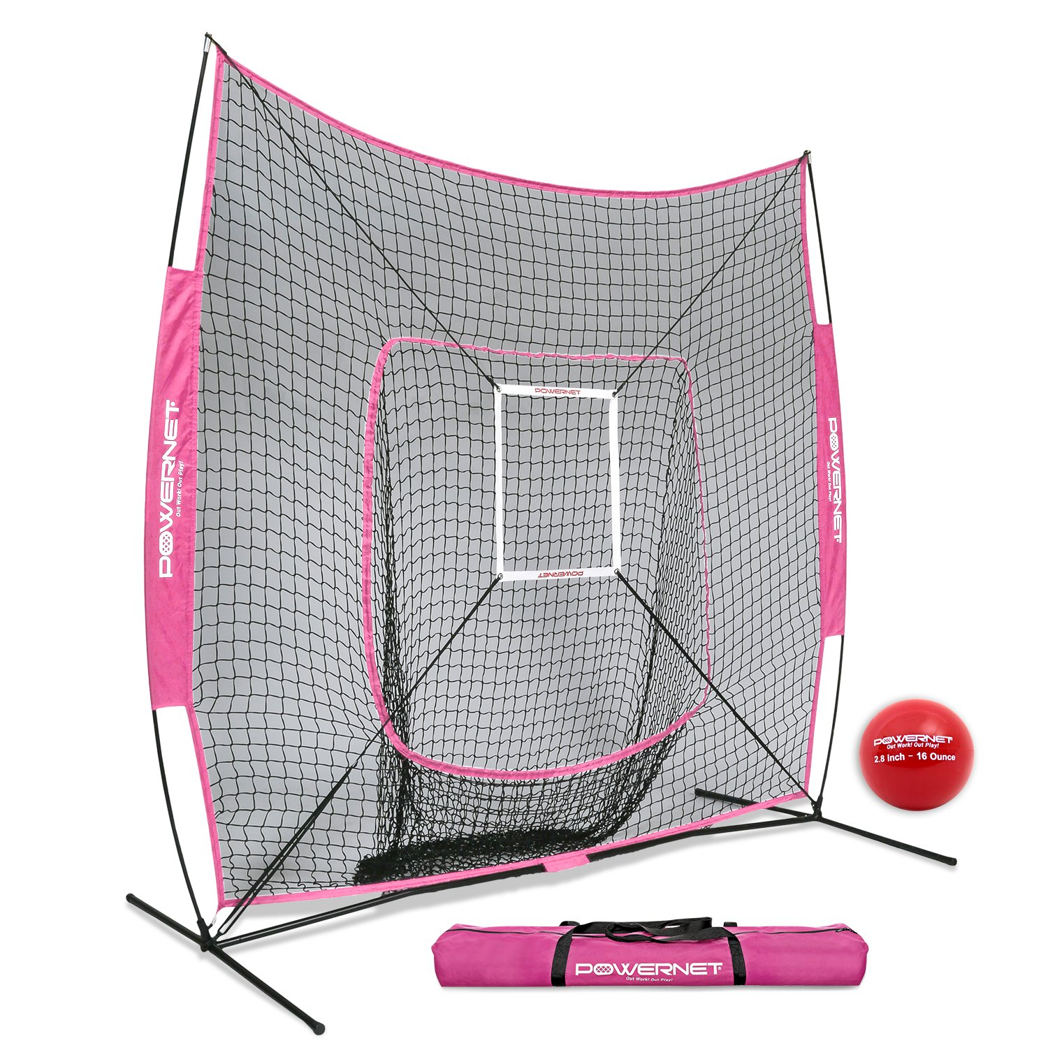 PowerNet DLX 7x7 Baseball Softball Hitting Net + Weighted Heavy Ball + Strike Zone Bundle (Pink) | Training Set | Practice Equipment Batting Soft Toss Pitching | Team Color | Portable Backstop