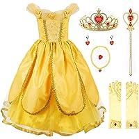 JerrisApparel Niña Princesa Belle Disfraz Tul Fiesta Trajes