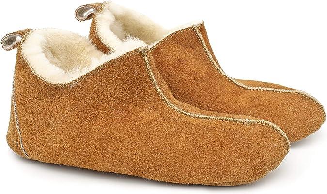 Zapatillas de casa señora lammfellhausschuhe oveja fell cordero forradas todos los tamaños
