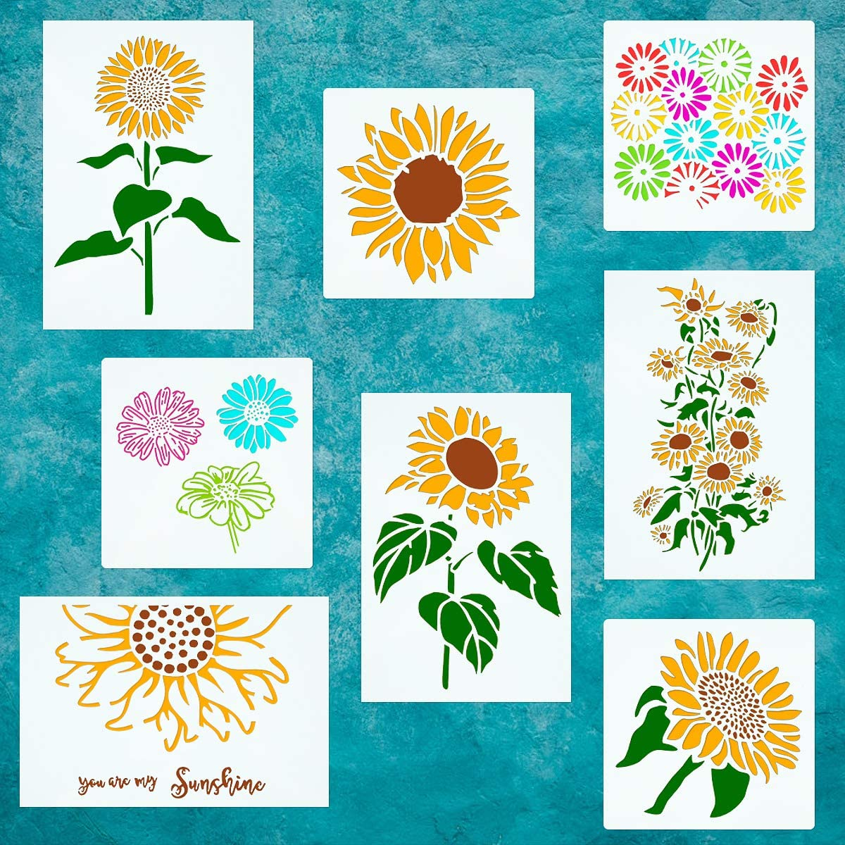 CINPIUK 8 Pack Sunflower Stencils Camomile Daisy Template for Painting on Wood DIY Fall Thanksgiving Home Decor