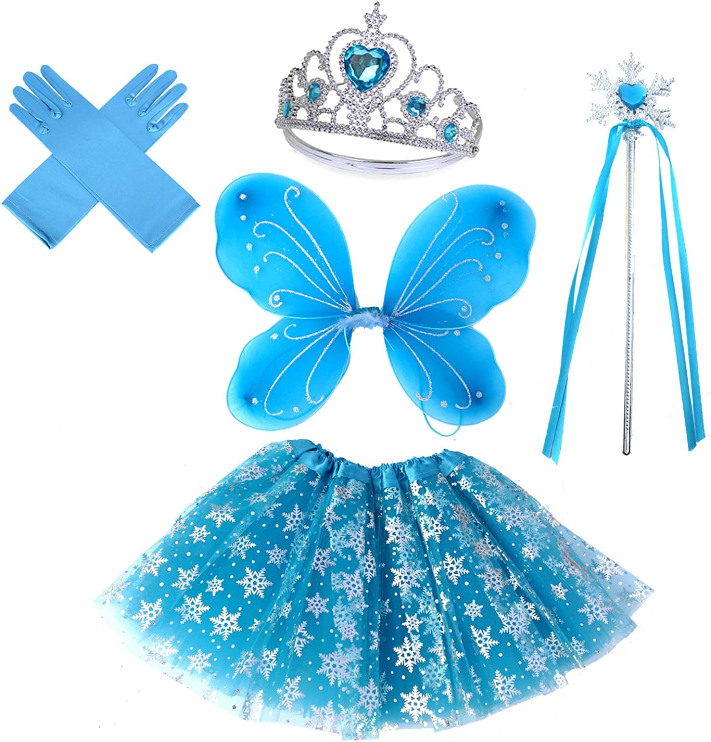 Girls Fairy Costume Set with Butterfly Wings Tutu Wand and Halo Headband