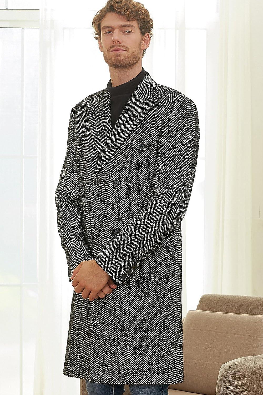 Hanayome Mens Outwear Double Breasted Notch Lapel Long Winter Herringbone Jacket Coat