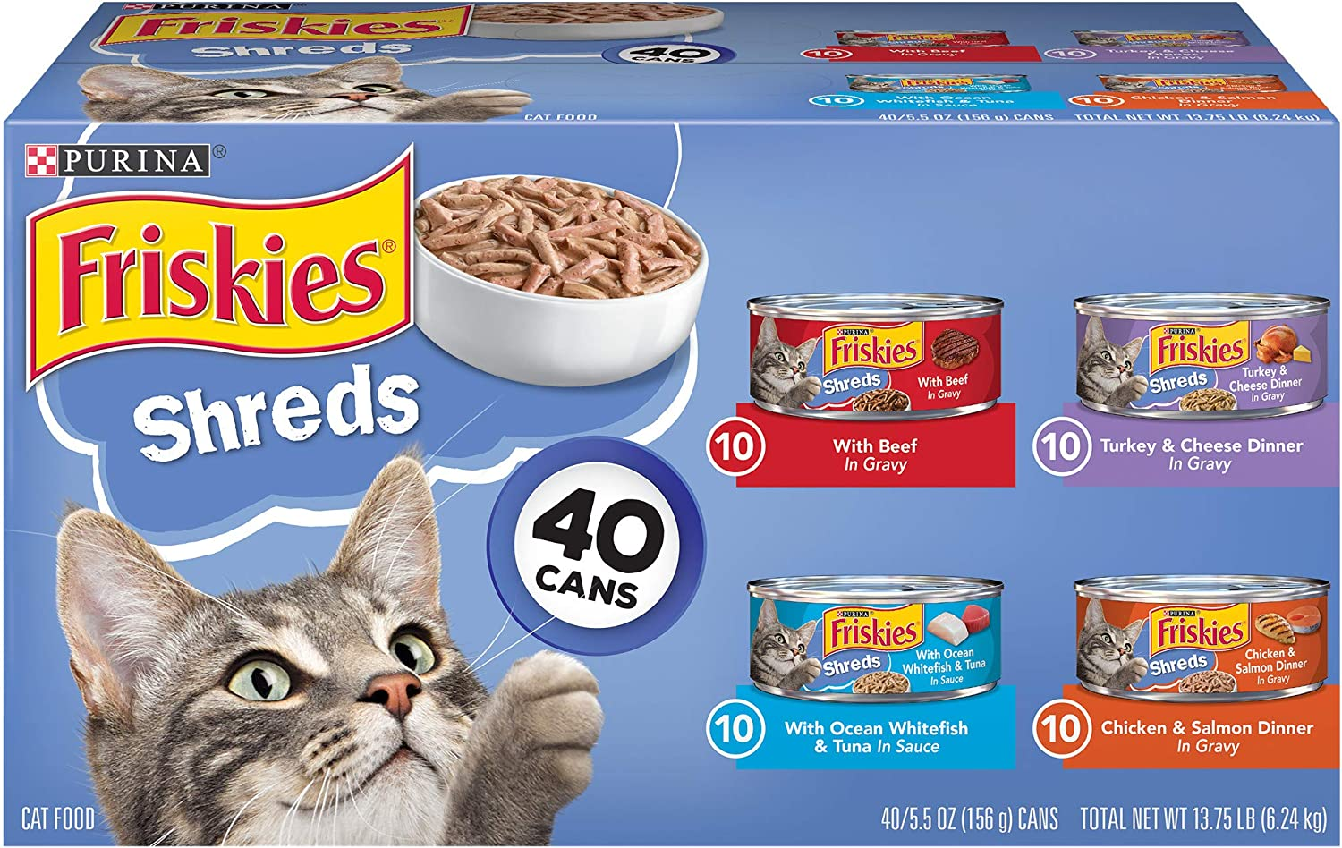 Purina Friskies Variety Pack Wet Cat Food Gravy, Shreds Beef, Turkey, Whitefish, and Chicken & Salmon - (40) 5.5 oz. Cans