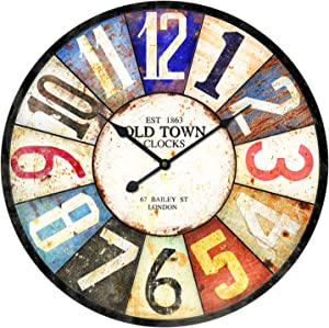 Outdoor Garden Wall Clock, 23 Inch Large Round Garden Clock Vintage Wooden Outdoor Clock with Large Arabic Numerals Silent Wall Clock for Outside Decor
