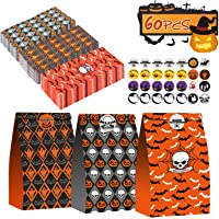 Halloween Treats Bags 60pcs Paper Gift Bags for Treats Snacks with 60 Halloween Stickers Halloween Gift Bags for Chips…