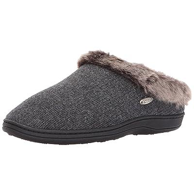 Amazon.com | ACORN Women's Faux Fur Chinchilla Ragg Clog Slippers, Dark Charcoal Heather, 9.5 US Medium | Slippers