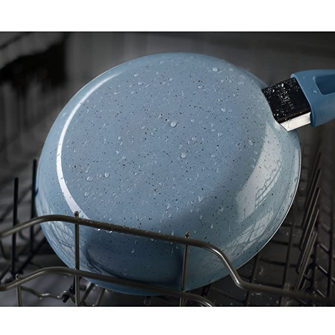 COOKSMARK Esmaltado de Porcelana Batería de Cocina 10 Piezas Juego de Ollas y Sartenes Antiadherentes Juego de Cacerolas con Tapas de Vidrio Azul Apta ...