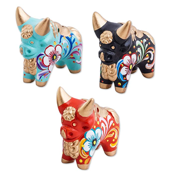 NOVICA Red Black Turquoise Hand Painted Floral Ceramic Bull Figurines, Little Pucara Bulls' (Set of 3)