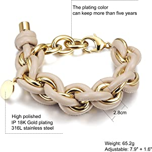 0326d5c2d Link Chain Bracelet Women Girls Wide Chunky Cuban Curb Link Bracelet Gold  Plated Stainless Steel Chain Link with Round Disc Charm