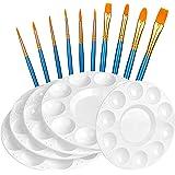 Amazon Basics Art Paintbrush Set, Include 20 pcs Paintbrush & 6 pcs Round Paint Tray Palettes
