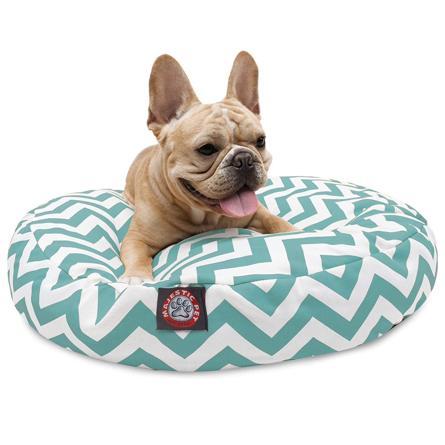 Teal Chevron Small Round Indoor Outdoor Pet Dog Bed with Removable Washable Cover by Majestic Pet Products