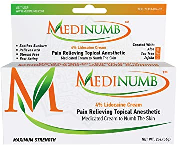 Medinumb Lidocaine Numbing Cream (2oz/56g) Topical Anesthetic Pain Relief -  Waxing, Laser,