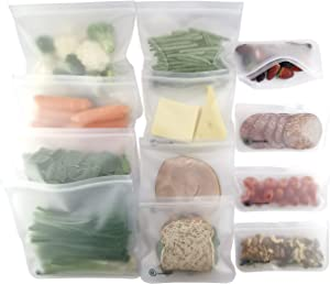 12 Pack BPA FREE Reusable Storage Bags (4 Gallon Bags, 4 Sandwich Bags, 4 Snack Bags), Quality Extra Thick, Leakproof, Silicone and Plastic Free, Double Ziplock, Lunch Bags, Food Storage, Freezer Safe