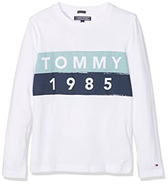 8fa8c344 Tommy Hilfiger Boy's AME Multicolor Logo Cn Tee L/S Long Sleeve Top:  Amazon.co.uk: Clothing