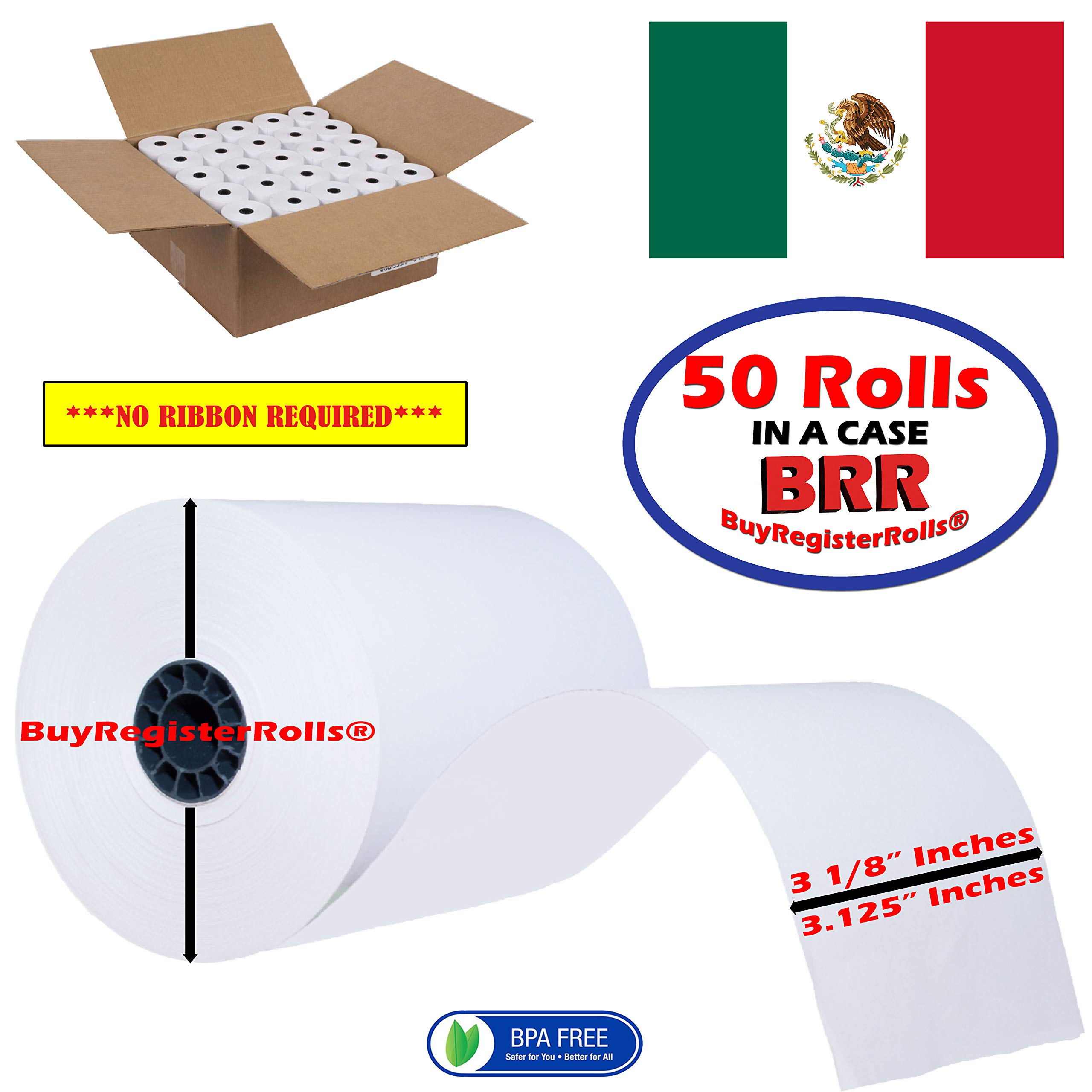 NCR 856348 Thermal Receipt Paper, 3-1/8'' x 230', White, 50 Rolls/Pk BPA Free Made in Mexico From BuyRegisterRolls