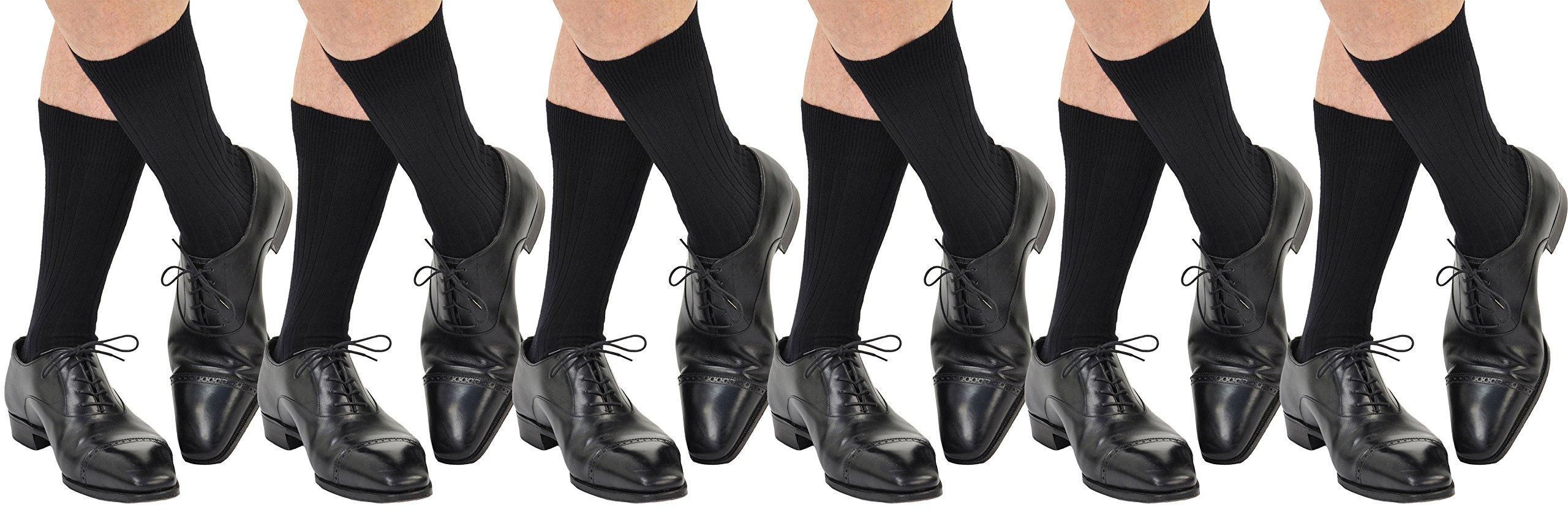 6 Pairs Men's ExtraFine Merino Marcoliani Mid-Calf Italian Dress Socks: 6 Black
