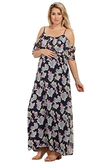 68cee80243e Image Unavailable. Image not available for. Color  PinkBlush Maternity Navy  Floral Cold Shoulder Maxi Dress ...