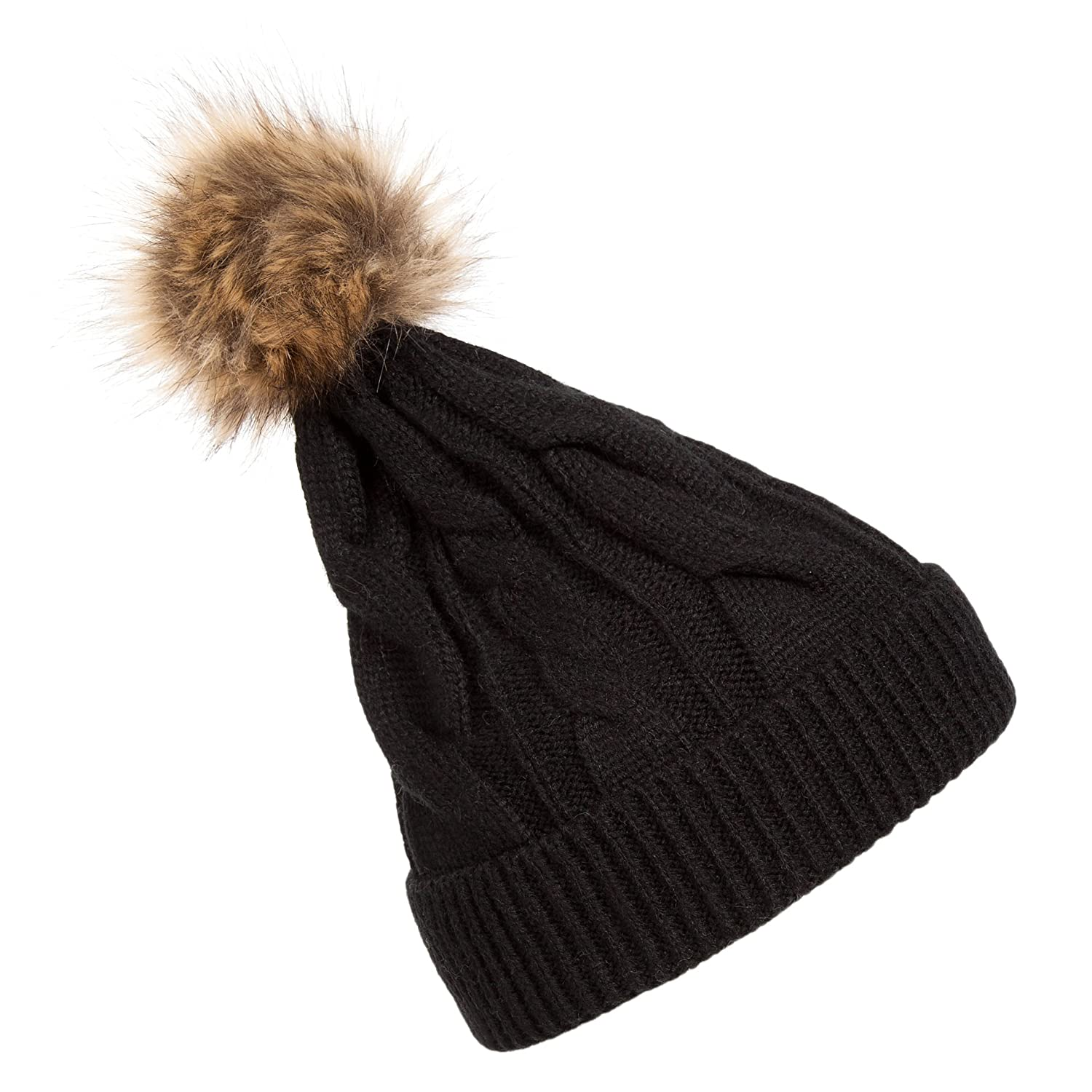 Jelinda Thick Cable Knit Weave Beanie Hat with Fur Pompom Beanie for Women