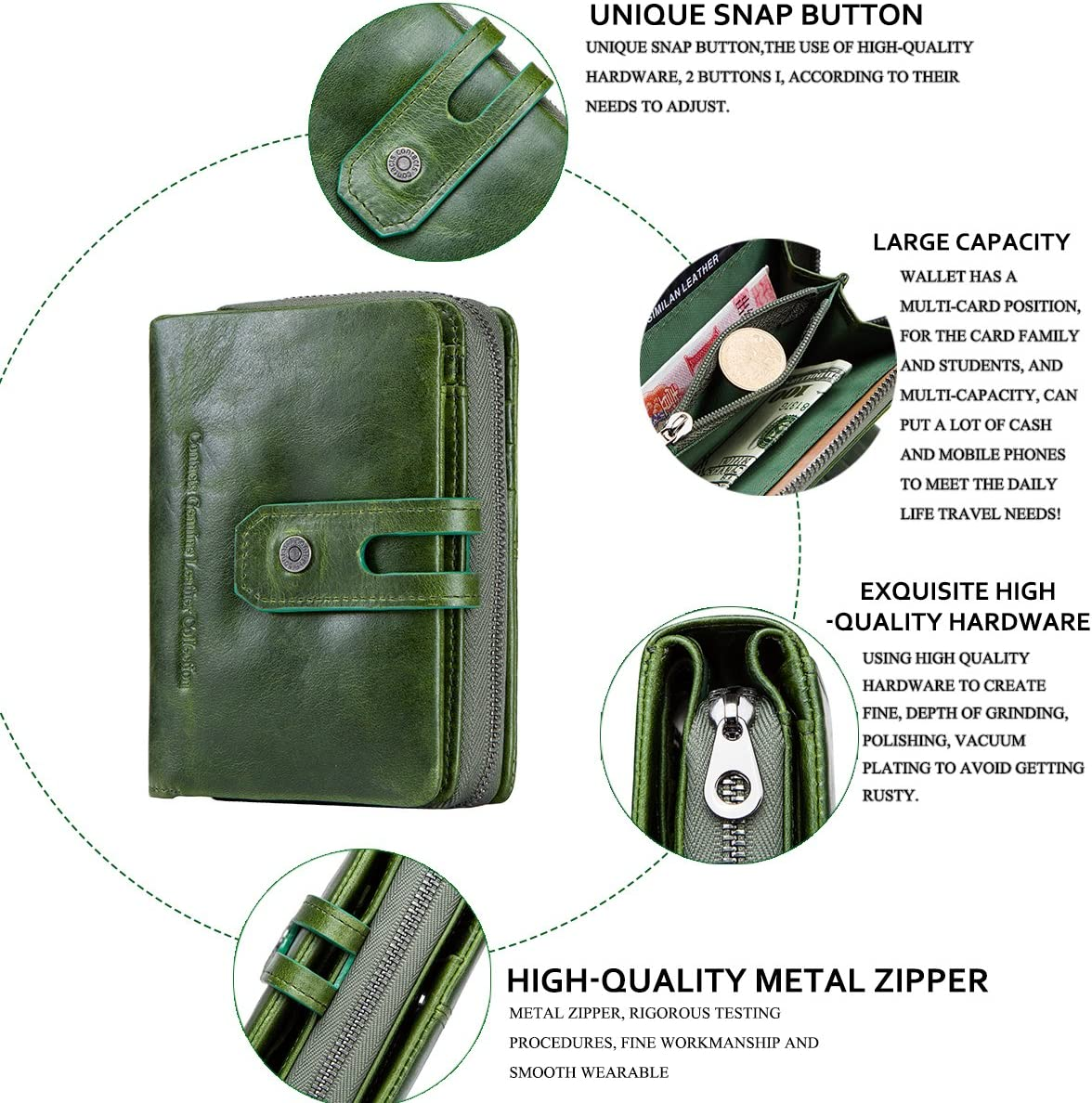 Contacts Genuine Leather Womens Trifold Coin Card Holder Clutch Zipper Purse Wallet Green