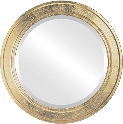 Round Beveled Wall Mirror for Home Decor – Wright Style – Gold Leaf – 34×34 outside dimensions