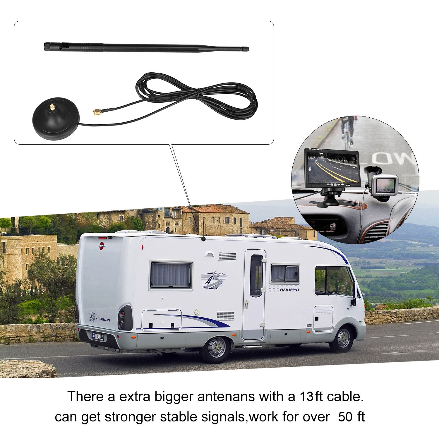 Amazon.com: Emmako Backup Camera Wireless and 7'' Monitor Kit For RV/Truck/Trailer/SUV  Guide Lines ON/Off IP68 Waterproof Night Vision Built-in Wireless ...