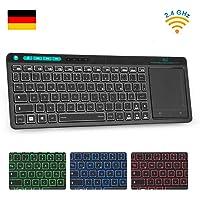 Rii K18 Plus Kabellose Touchpad Tastatur, 2.4G Multimedia Tastatur mit 3 LED Hintergrundbeleuchtung für PC/Laptop/Linux/fire Stick/Windows 2000 XP Vista 7 8 10/Smart TV/HTPC(Deutsch Layout,Schwarz)
