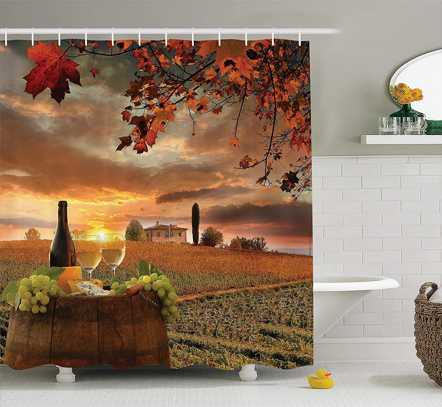 Ambesonne Winery Shower Curtain, White Wine with Cask on Vineyard at Sunset in Chianti Tuscany Italy, Cloth Fabric Bathroom Decor Set with Hooks, 70