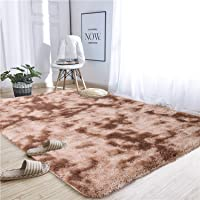 Noahas Abstract Shaggy Rug for Bedroom Ultra Soft Fluffy Carpets for Kids Nursery Teens Room Girls Boys Thick Accent Rugs Home Bedrooms Floor Decorative, 4 ft x 6 ft, Brown