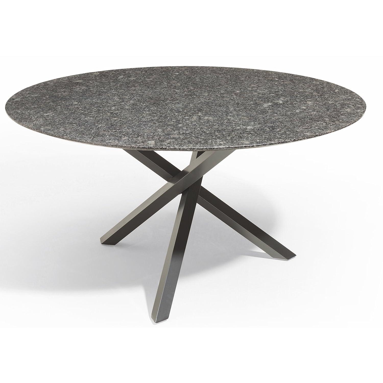 Studio 20 Gartentisch Gigi Granitplatte rund ø 120 cm Outdoortisch Granittisch Tischplatte Silver Waves satiniert
