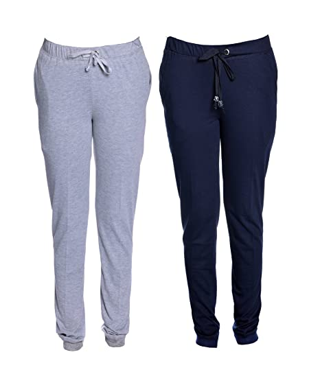 Vimal Grey Melange & Navy Blue Cotton Blend Trackpant For Women ( Pack Of 2) Women's Sports Trousers at amazon