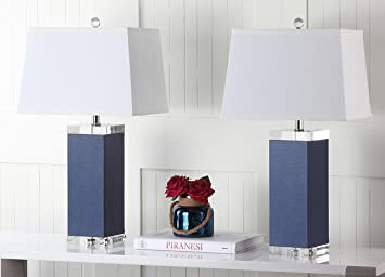 Safavieh Lighting Collection Deco Leather Navy 25 5 Inch Table Lamp Set Of 2