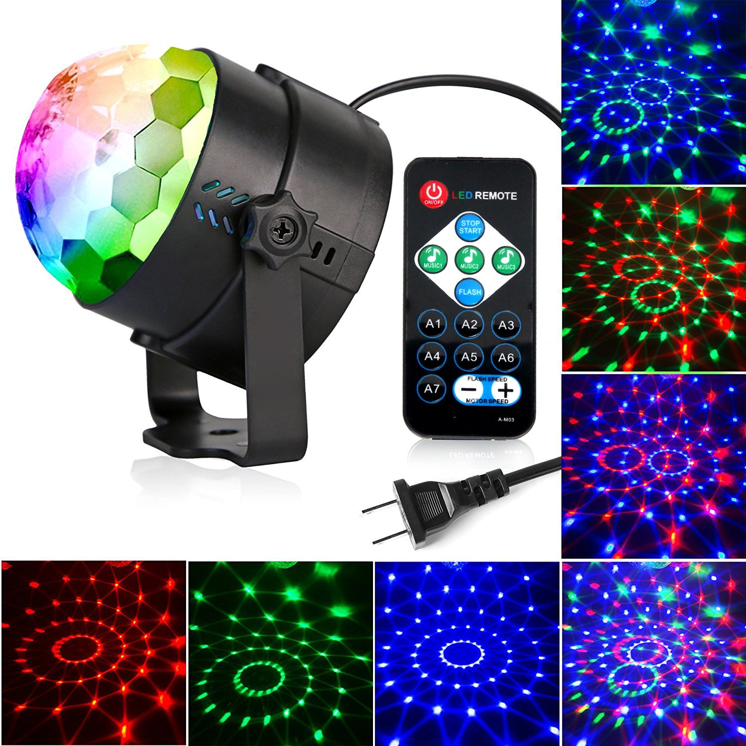 Disco Lights Ball,Sound Activated Party Lights Projector LED 7 Colors Disco Ball DJ Lights Strobe Lights Disco Party Lights Show for Dance Karaoke DJ Bar Wedding Show (with Remote) by KOOT (Image #2)