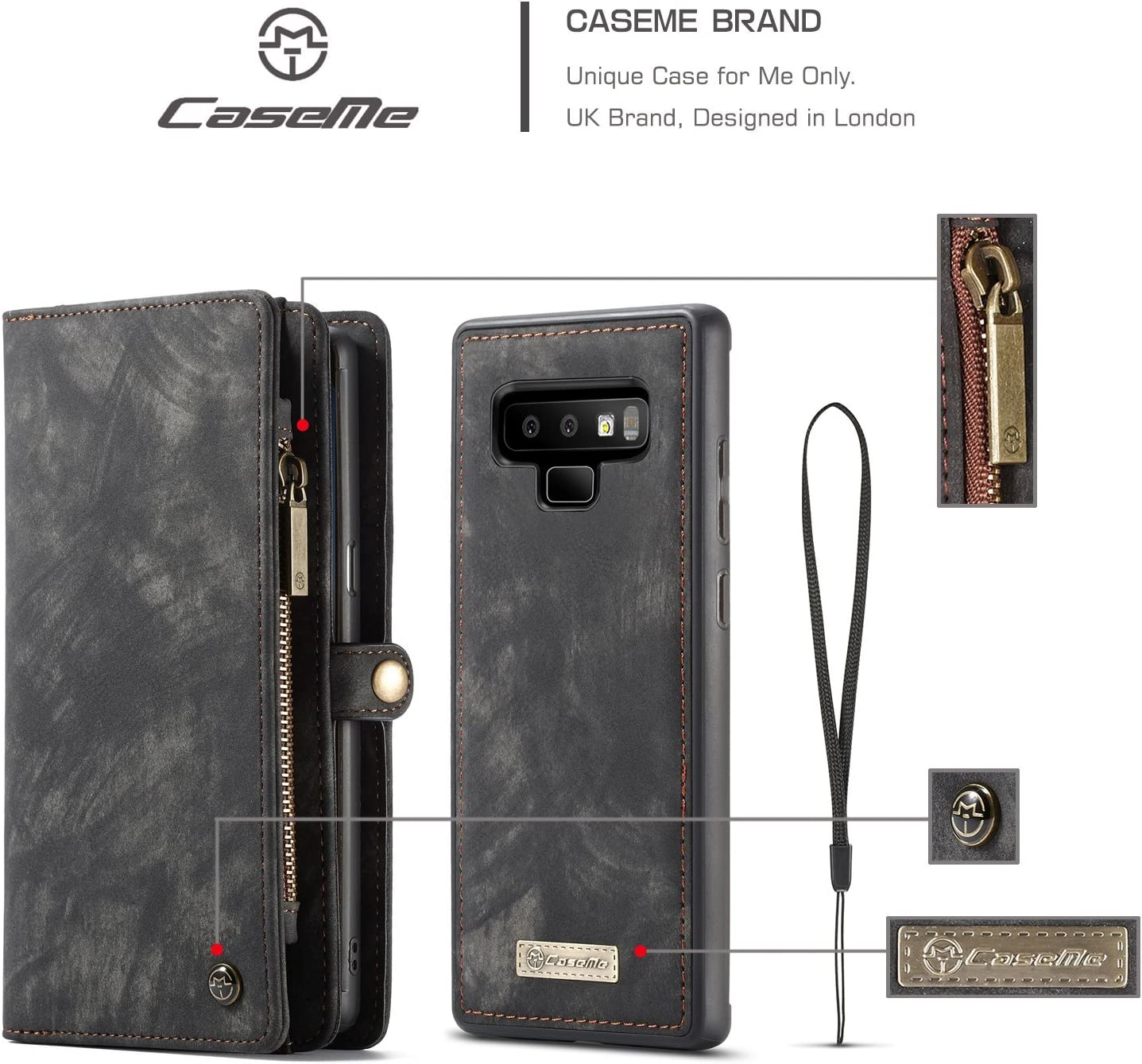 Green Galaxy Note 9 Wallet Case,Bpowe Zipper Purse Leather Shockproof TPU Bumper Detachable Magnetic Flip Case with Card Slots Stand Holder Case for Samsung Galaxy Note 9
