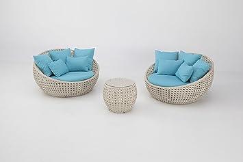 Set lounge rattan blanco roto cojines azul turquesa Swala ...