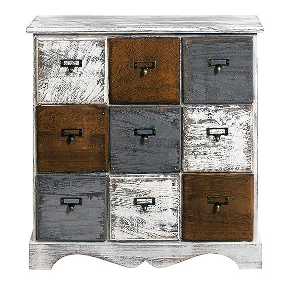 Rebecca Mobili Cajonera con 9 cajones, gabinete blanco, madera, shabby chic, dormitorio vestidor- Medidas: 62 x 60 x 22 cm (AxANxF) - Art. RE4077
