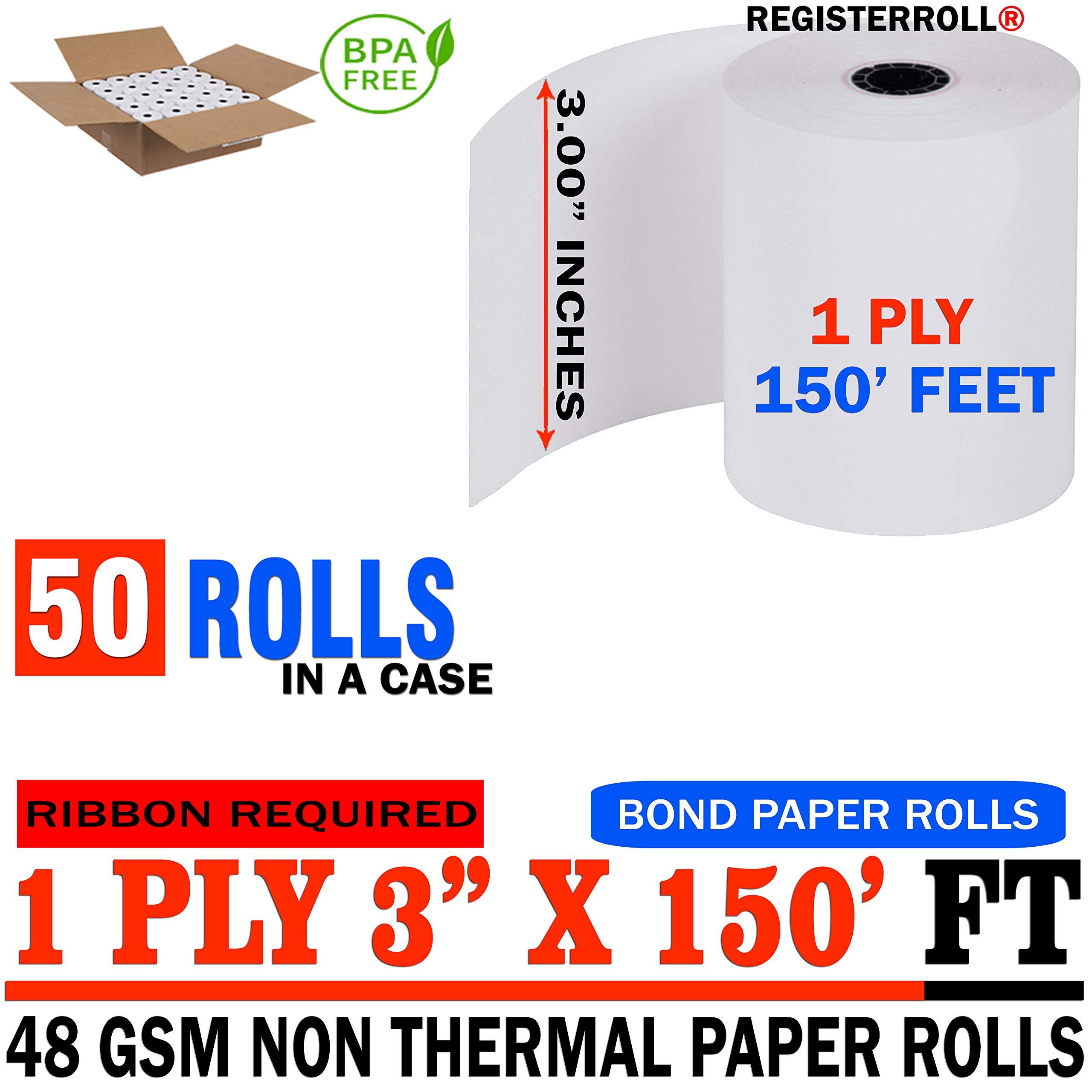 3 x 150' 1-ply Bond Paper 50 Rolls from RegisterRoll | Premium Quality Bond Paper by RegisterRolls