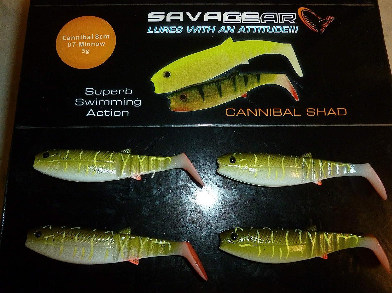 5pcs Cannibal shads fishing soft lure bait savage jighead dropshot 8cm
