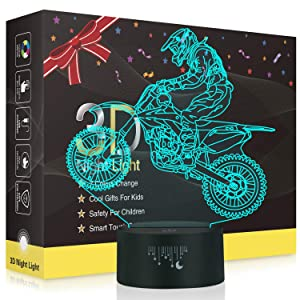 Motorcycle 3D LED Optical Illusion Lamps, Rquite 7 Color Change Touch Switch Art Sculpture Lights LED Desk Table Night Light Awesome Gift
