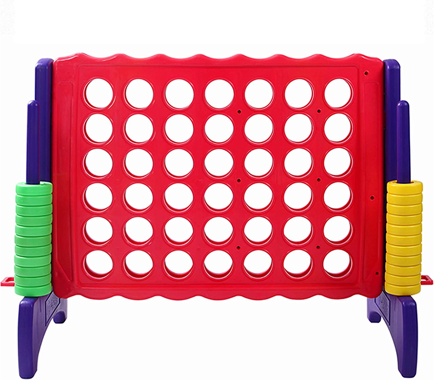 Giant 4 in A Row, 4 to Score - Premium Plastic Four Connect Game JUMBO 4 Foot Width or JUNIOR 3 Foot Width Set with 44 Rings by Rally & Roar – Oversized Fun Family, Kids Indoor/Outdoor Games