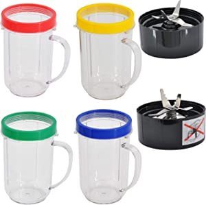 Ligefoy 16OZ Bullet Cups 4 Pack Replacement for Ma-gic Bu-llet Blender Juicer 250W MB-1001 Party Cups Mugs with Colored Lip Rings, Cross Blade and Ice Shaver Blade