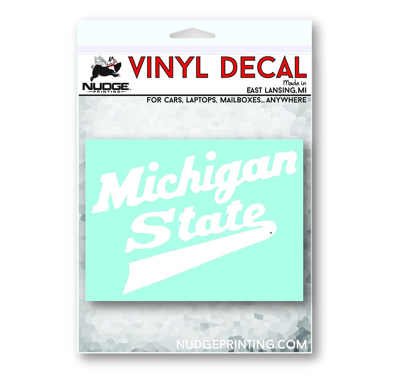 Nudge Printing Michigan State University MSU Spartans Hockey Script Logo Car Window Decal Bumper Sticker
