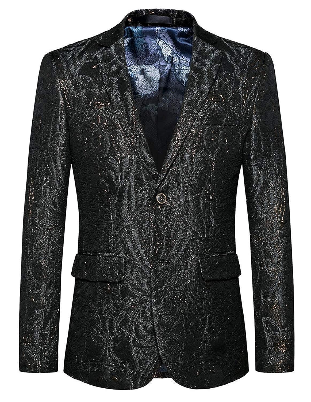 Men's Slim Fit Black Wedding Jacquard Blazer Gold Simple Estilo Suit Slim Fit Suit Jackets Tuxedo Classic Prom Suit None