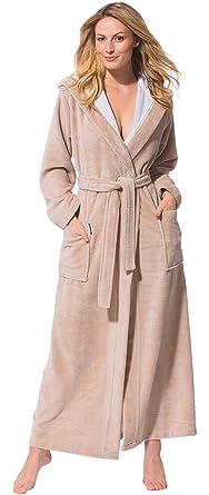 3feedfae2be965 Morgenstern Bademantel Damen mit Kapuze in Beige lang leicht Frauen  Morgenmantel Saunamantel Hausmantel Baumwolle Microfaser Viskose