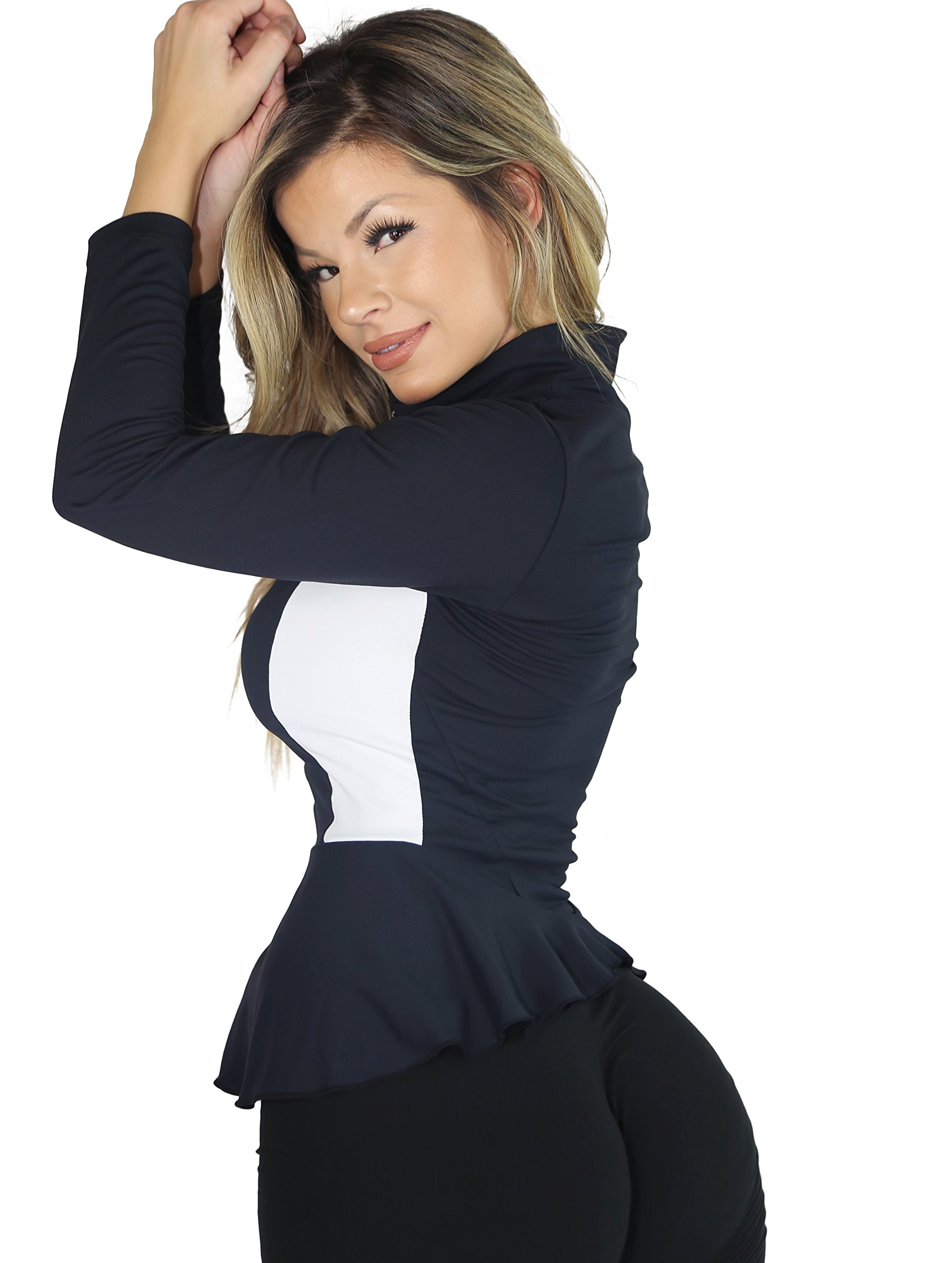 AB Butter Women's Sexy Hourglass Peplum Jacket for Fitness Gym Workout Training Running Yoga - Black by AB Butter