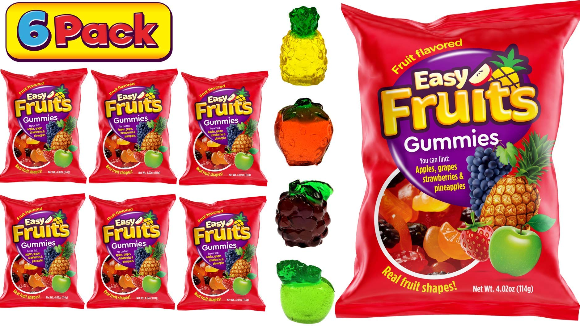 Gummy Fruits 3D Easy Fruits (6 Packs) Soft Chewy Jelly Fruits Gummies Like Gummy Bears I 4 Flavors & Shapes Grape Apple Pineapple & Strawberry I Fat & Dairy Free Gummies Candy I Block-Fruit-6