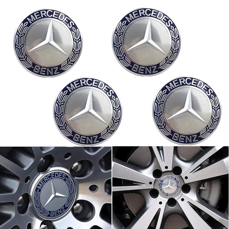 Felgendeckel MB Wheel Centre Caps Mercedes Benz 4 x 75 mm Hub Caps Wheel Hub Caps Hub Caps Blue Wheel Caps