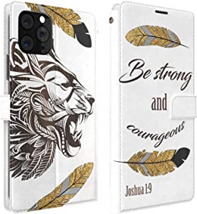 Mertak Wallet Case Compatible with iPhone 11 Pro Max SE 10 Xr Xs X 8 Plus 7 6s Flip Folio Bible Verse Slim Fit Magnetic PU Leather Quote Lightweight Card Holder Be Strong and Courageous Lion
