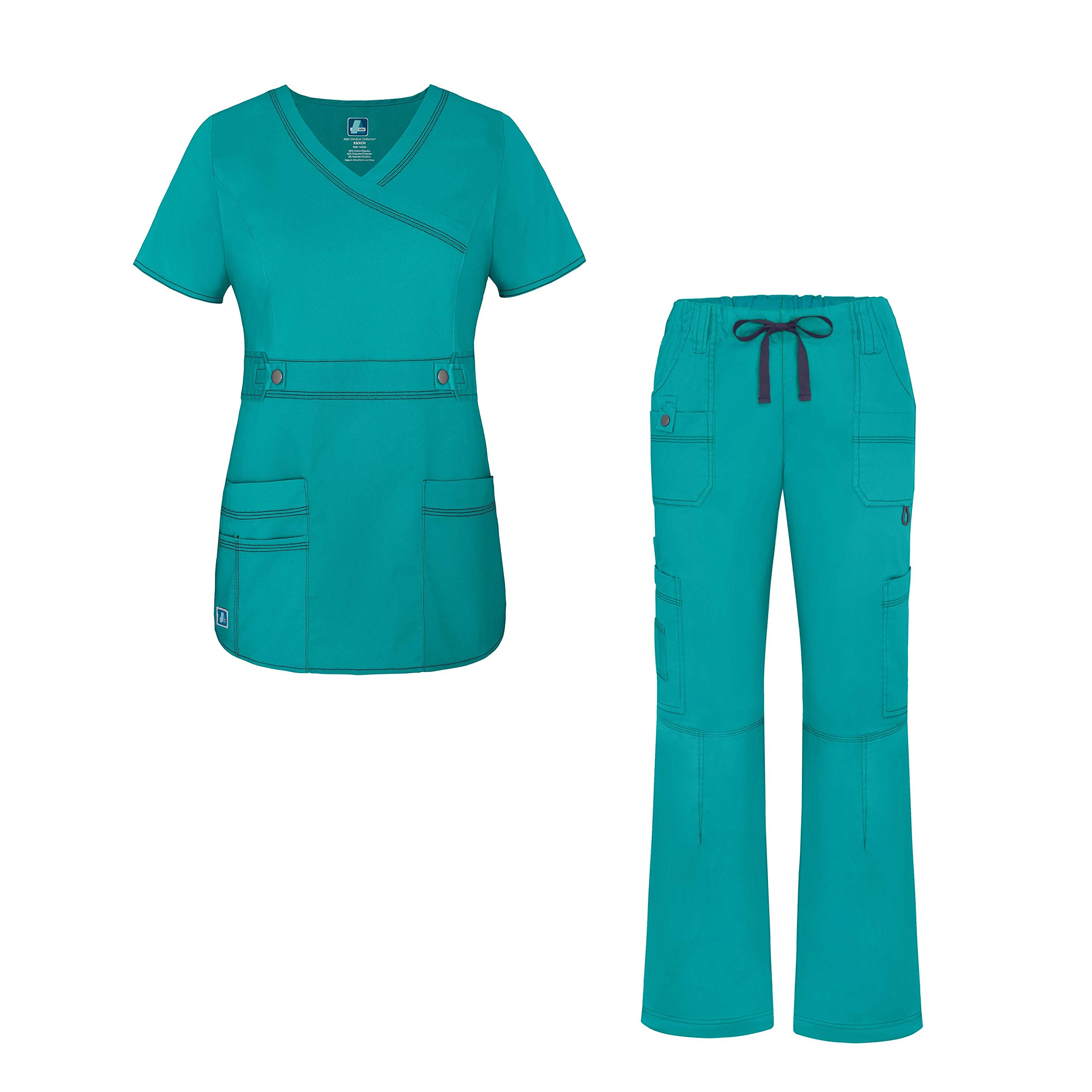 Adar Pop-Stretch Junior Fit Women's Scrub Set - Crossover Top and Multi Pocket Pants - 3500 - Teal Green - S