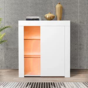 DMAITH Modern High Gloss Sideboards Buffets with Storage Cabinet & Led Lights, 1 Door & 2 Open Shelves, Cupboard for Kitchen and Dining Room, White (001W)