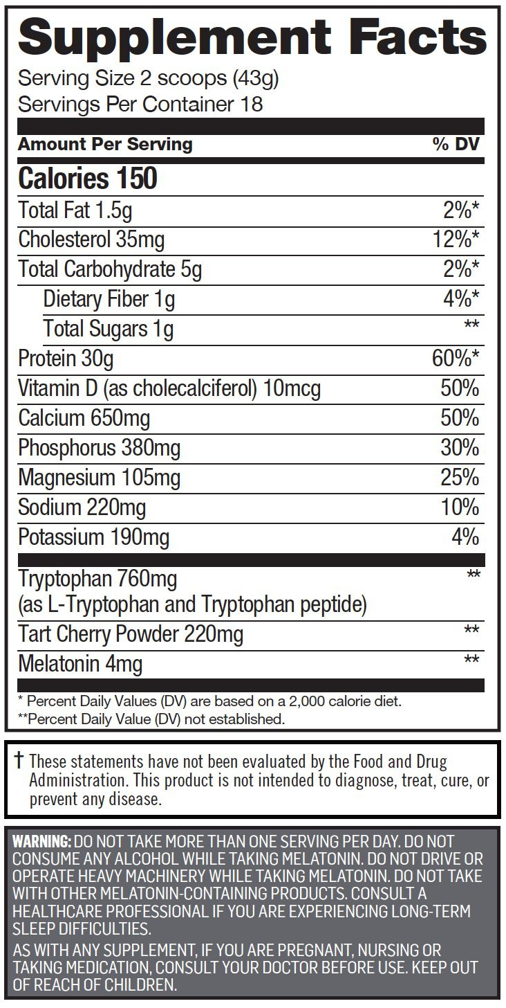 Cytosport Sleeping Giant Nighttime Protein Supplement Mix with Melatonin and Tryptophan, Hot Chocolate,...